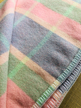 Load image into Gallery viewer, Pastel Lavender, Pink & Mint check KING SINGLE Pure Wool Blanket.