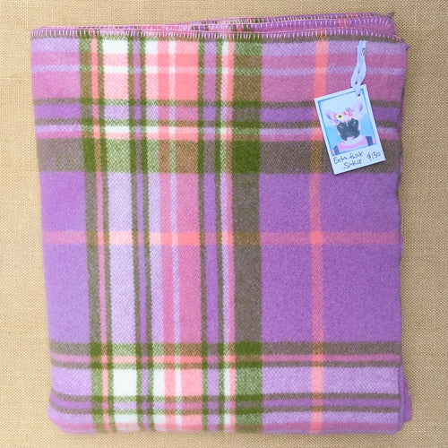 Gorgeous Mauve, peach and green SINGLE Super Thick and Soft - Fresh Retro Love NZ Wool Blankets