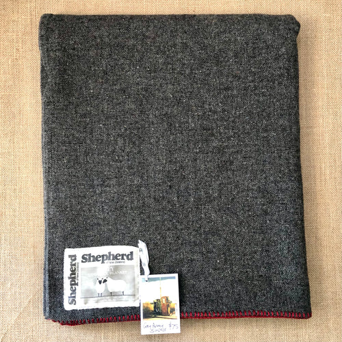 Grey Army Blanket SINGLE with RED Blanket Stitched Edge - Fresh Retro Love NZ Wool Blankets