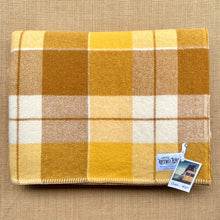 Load image into Gallery viewer, Bright Retro Browns & Mustard DOUBLE Wool Blanket