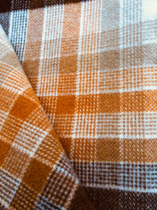 Poppa Styles Brown Check SINGLE Soft and Cosy - Fresh Retro Love NZ Wool Blankets