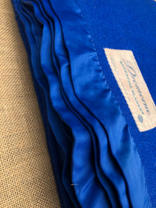 Intense Royal Blue SINGLE Wool Blanket from Dromorne Auckland with Satin Trim