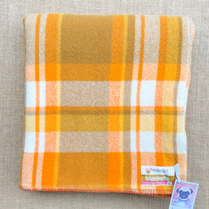 Cheerful Orange & Olive SINGLE New Zealand Wool Blanket