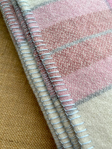 Light Pink and Grey DOUBLE Royal Wool New Zealand Blanket