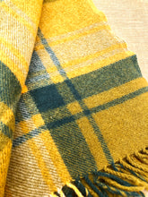 Load image into Gallery viewer, Stunning Olives & Gold TRAVEL RUG - Collectible Onehunga! - Fresh Retro Love NZ Wool Blankets