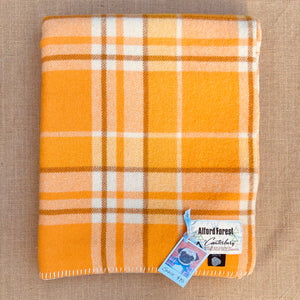 Golden Orange and Yellow SINGLE Bright Retro New Zealand Wool Blanket
