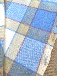 Sailing Boat Blue Checked with Tan SINGLE New Zealand Wool Blanket