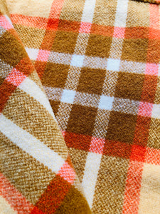 Retro Gold, Olive and Orange Extra Long SINGLE 100% NZ Wool Blanket - Fresh Retro Love NZ Wool Blankets
