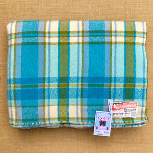 Bright Turquoise and Olive DOUBLE Wool Blanket - Wondawarm! - Fresh Retro Love NZ Wool Blankets