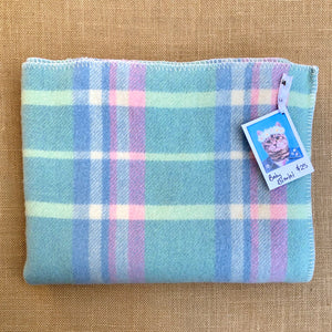 Soft and pretty BABY Blanket in Mints & Blue - Fresh Retro Love NZ Wool Blankets