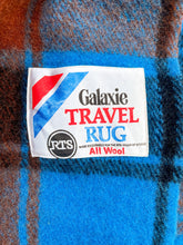 Load image into Gallery viewer, Vibrant Blue, Black and Brick TRAVEL RUG New Zealand Wool