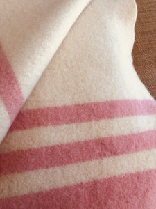 Classic SINGLE  Wool Blanket - Thick Wool with Pink Edge & Patch Repair