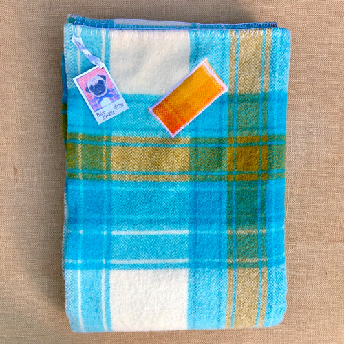 Retro Turquoise SINGLE super thick with patch repair - Fresh Retro Love NZ Wool Blankets