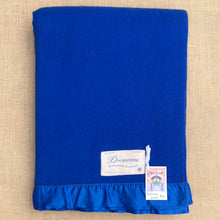 Load image into Gallery viewer, Intense Royal Blue SINGLE Wool Blanket from Dromorne Auckland with Satin Trim