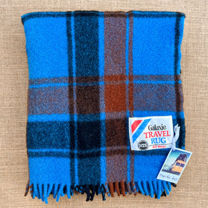 Vibrant Blue, Black and Brick TRAVEL RUG New Zealand Wool