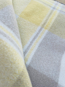 Taupe & Lemon Wanganui Woollen Mills SINGLE New Zealand Wool Blanket