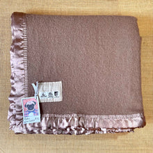 Load image into Gallery viewer, Cocoa Brown KING SINGLE Wool Blanket with beautiful Satin Trim