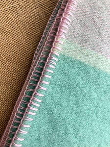 Soft Pastel Mint and Pink SINGLE Pure Wool Blanket. **UPDATED** - Fresh Retro Love NZ Wool Blankets