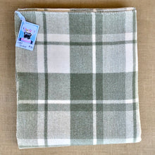 Load image into Gallery viewer, Moss Green & Cream SINGLE Pure Wool Blanket. - Fresh Retro Love NZ Wool Blankets