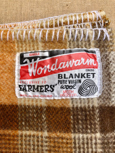 Thick Brown Check Winter Weight SINGLE New Zealand Wool Blanket - Fresh Retro Love NZ Wool Blankets