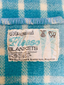 Happy Turquoise, soft and cosy SINGLE Pure Wool Blanket. Wanganui Woollen Mills