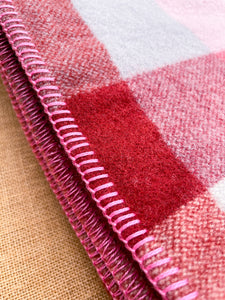 Deep Plum, Strawberry Pink & Light Grey KING SINGLE New Zealand Wool Blanket.