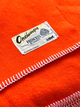 Load image into Gallery viewer, Super Bright Vibrant Orange Extra Long DOUBLE Pure Wool Blanket.