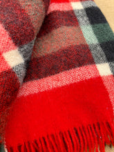 Load image into Gallery viewer, Bold Red & Black Check Onehunga TRAVEL RUG Collectible New Zealand Wool