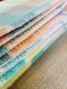 Sensational Pastel SINGLE Pure Wool Blanket. Extra Thick!