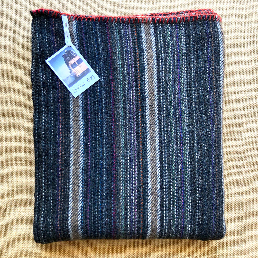 Grey Multicolour Yarn Soft Blanket SINGLE with Red Blanket Stitched Edge - Fresh Retro Love NZ Wool Blankets