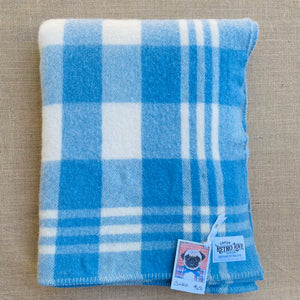 Thick Blue Check SINGLE Pure NZ Wool Blanket.