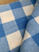 Load image into Gallery viewer, Lightweight SINGLE Wool Blanket in blue and cream check