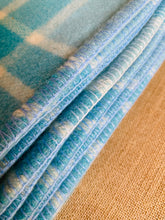 Load image into Gallery viewer, Happy Turquoise, soft and cosy SINGLE Pure Wool Blanket. Wanganui Woollen Mills