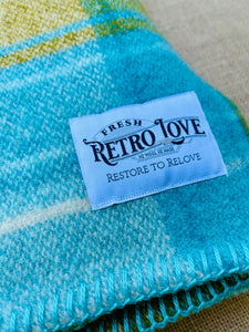 Bright Retro Turquoise THROW New Zealand Wool Blanket