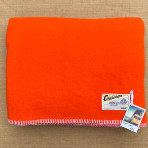 Super Bright Vibrant Orange Extra Long DOUBLE Pure Wool Blanket.