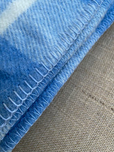 Load image into Gallery viewer, Thick Blue Check SINGLE Pure NZ Wool Blanket.
