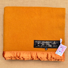 Load image into Gallery viewer, Rich Turmeric beautiful DOUBLE Pure Wool Blanket with Satin Trim. - Fresh Retro Love NZ Wool Blankets