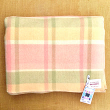Load image into Gallery viewer, Sorbet Pastel Lightweight Check DOUBLE Wool Blanket