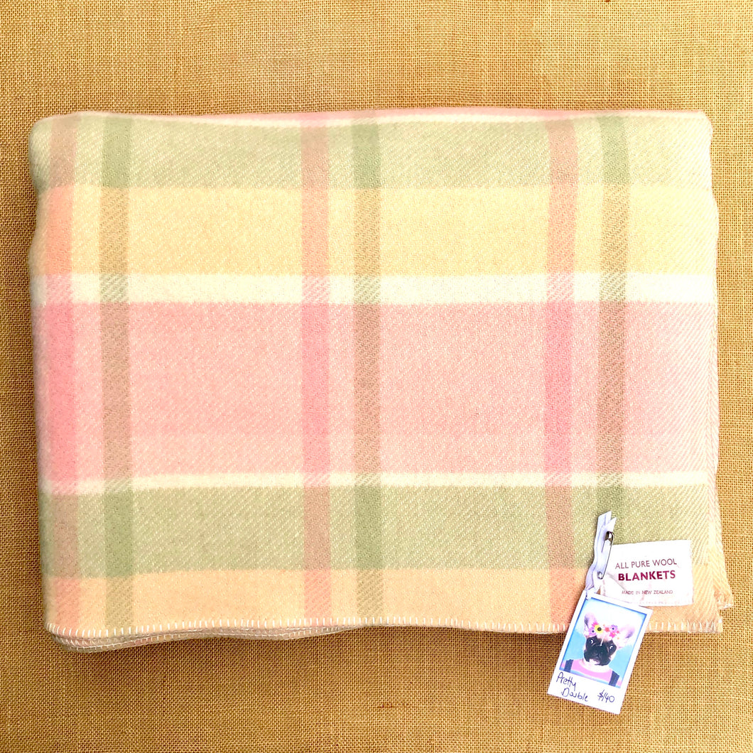 Sorbet Pastel Lightweight Check DOUBLE Wool Blanket