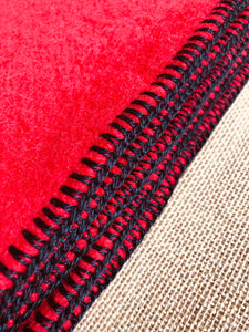 Primary Red THROW Wool Blanket perfect for Pram/Knee Rug - Fresh Retro Love NZ Wool Blankets