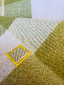 Golden Olives SINGLE/THROW Pure Wool Blanket. - Fresh Retro Love NZ Wool Blankets