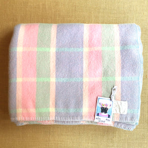Pastel Lavender, Pink & Mint check KING SINGLE Pure Wool Blanket.