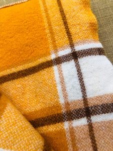 Gold Check SINGLE bright with two patch repair. Disco Fever!! - Fresh Retro Love NZ Wool Blankets