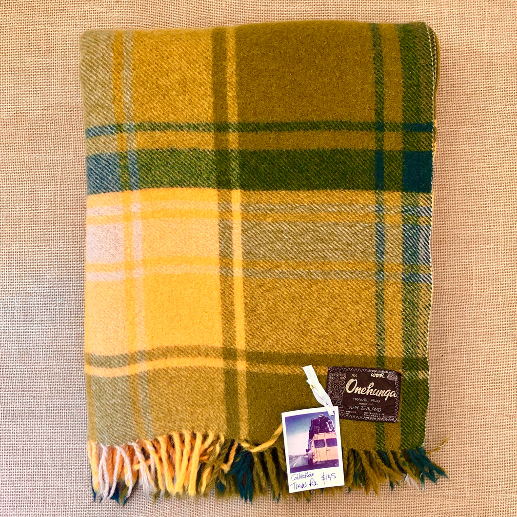 Stunning Olives & Gold TRAVEL RUG - Collectible Onehunga! - Fresh Retro Love NZ Wool Blankets