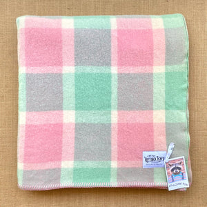 Soft Pastel Mint and Pink KING SINGLE Pure NZ Wool Blanket