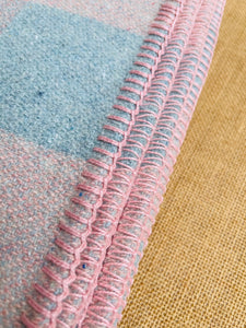 Soft Pastel Apricot Pink and Mint Blue Check DOUBLE Pure Wool Blanket.