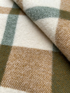Earthy Olives & Browns KNEE/COT New Zealand Wool Blanket