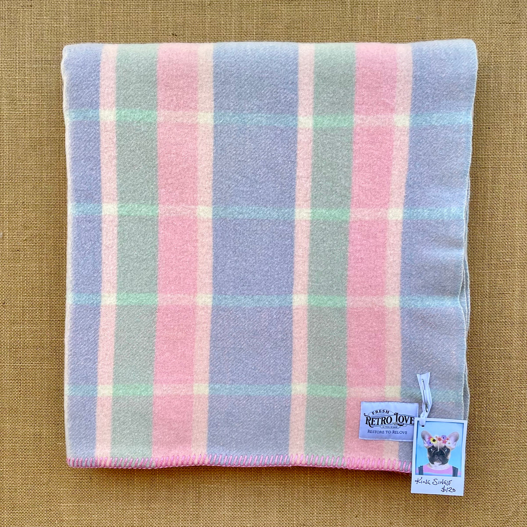 Soft Pastel Mint, Blue and Pink KING SINGLE Pure NZ Wool Blanket