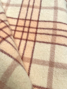 Blush Pink & Cream Qualcraft SINGLE Pure Wool Blanket
