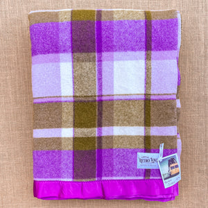 RARE Purple & Olive Super Thick SINGLE New Zealand Wool Blanket